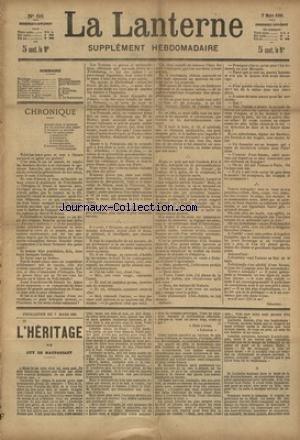 LANTERNE (LA) [No 88] du 06/06/1886 - LA VIEILLE TUNIQUE PAR COPPEE - TRIBUNAUX COMIQUES PAR MOINEAUX - L'HYGIENE DE GARGAS PAR DUMONTEIL - LA SANTE PUBLIQUE PAR LE DR MARC - FEUILLETON / L'HERITAGE PAR DE MAUPASSANT