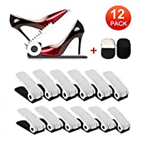 HOBFU Adjustable Shoe Slots Organizer, Shoe Holder Space Saver Shoe Storage Rack 4-Level Height for Girls Ladies and Family