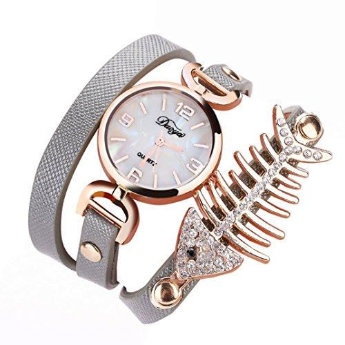 1 PC Damen Fisch Spezial Knochen Wicklung Analog Quartz Bewegung Armbanduhr Armband von CICIYONER (Grau)