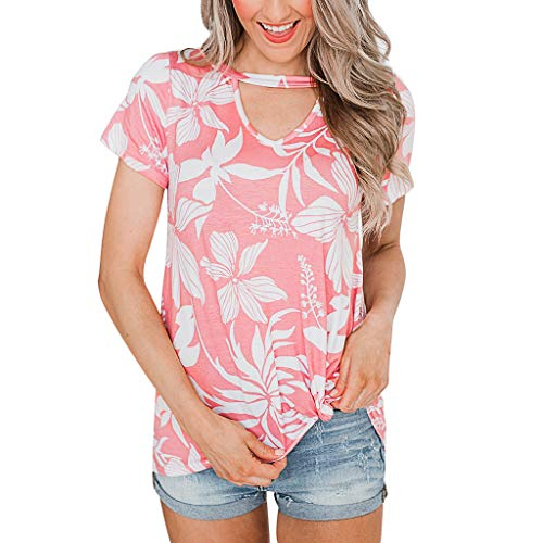 Top Damen, Sumeiwilly Sommer Sexy Kurzarm Shirt Crop Tops Damen Oansatz der Art- und Weisefrauen der heraus Druck kurzs chluss Hülsen Bluse einfache Oberseiten aushöhlt (Burnout-unterhemden)