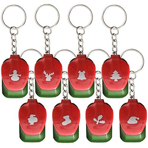 Mini-Stanzer 'X-Mas' als Schlüsselanhänger, Motivgröße: Ø 1 cm, 8 Stück | Motiv-Locher für Papier | Geschenkanhänger | Geschenkidee für Adventskalender | Basteln für Winter & Weihnachten
