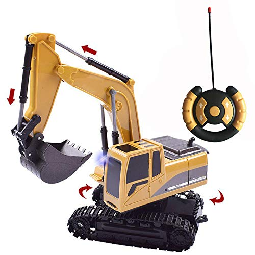 SFSDKJFGSD Kanal-voller Funktionsfernsteuerungsbagger-BAU-Traktor, Bagger-Spielzeug mit Übermittler 2.4Ghz und Metallschaufel -