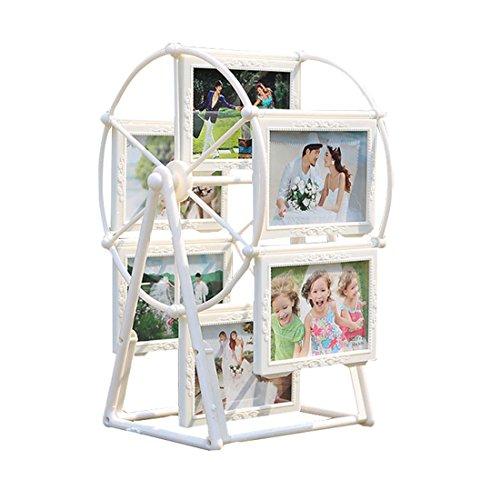 TJW Creative Rad Fotos Rahmen, 12,7cm 12ABS Motion drehbar Ferris Foto Halter, weiß Motion Desktop