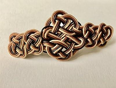barrette - tressage double en cordes de cuir - marron, cuivre et noir - 9cm