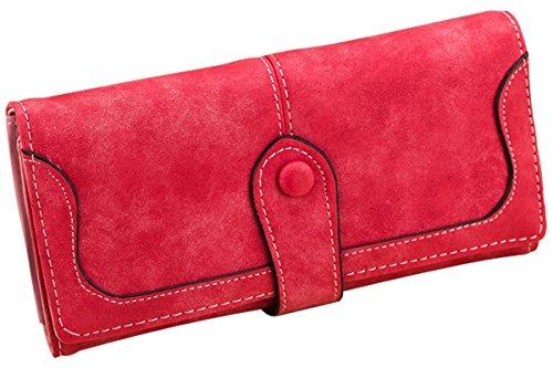 Minetom Donne Elegante Leather Portafoglio Lungo TitolareDellaCartaPochettePortafoglio Borsetta Sacchetto Del Partito ( Pink ) Rosso