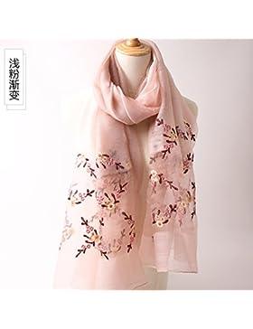 FLYRCX La primavera y el otoño temporada morera natural mezcla de lana de pañuelo de seda bordado mantón multiuso...