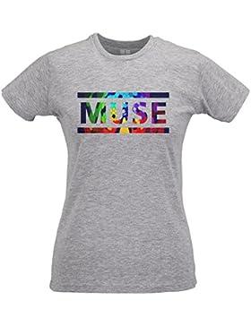 LaMAGLIERIA Camiseta Mujer Slim Muse Coloured Texture - T-Shirt Rock 100% Algodòn Ring Spun