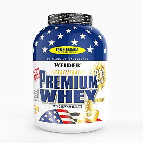 Weider Premium Whey Proteinpulver, Low Carb Proteinshakes mit Whey Protein Isolat, Banane, (1x 2,3 kg)