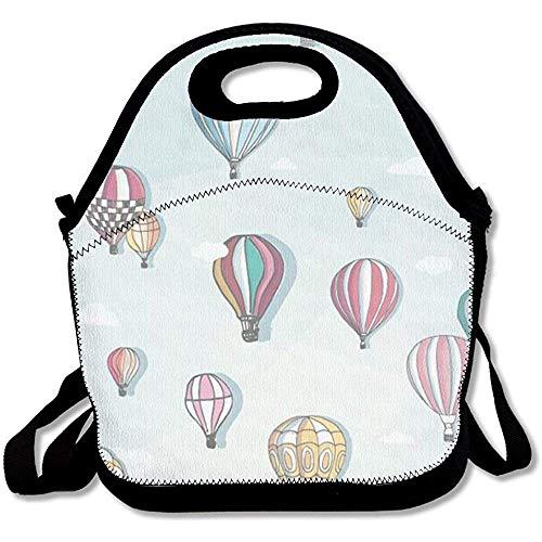 Hot Air Ballon praktische große & dicke Neopren-Lunch-Taschen, isolierte Lunch-Tasche, warme Tasche mit Schultergurt, für Damen, Teenager, Mädchen, Kinder, Erwachsene