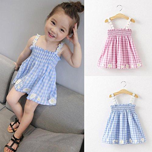 Kingko® Baby Girls Dress, Daisy Decoration Tartan Tutu Sling Dress Kids Clothing