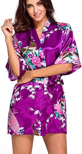 FLYCHEN Damen satin Morgenmantel Pfau und Blüten japanische kurze Kimonos Dunkellila-7