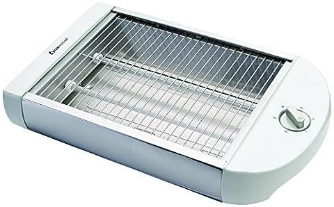 Grille-pain électrique de Surface. Grille-Pain Plat 600W. avec fonction grill et décongélation. Résistances de quartz. Grille: 25.5x 18.5cms. Minuteur jusqu'à 40minutes.