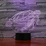 3D Night Light Colorful Turtles Led Acrylic Table Lamp Smart Tv Cabinet Wine Cabinet Bedroom Decoration Children Birthday Gift Christmas Gift