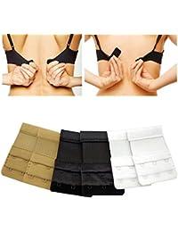 Medipaq® Lot de 6 extensions de soutiens-gorge 3 crochets - noir, blanc, chair
