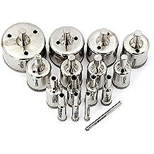MINHER 16 PC Broca Diamantada para Baldosas de cerámica, mármol, vidrio, cerámica, etc. (4mm, 6mm, 8mm, 10mm, 12mm, 14mm, 16mm, 18mm, 20mm, 22mm, 25mm, 28mm, 30mm, 35mm, 40mm, 50mm)