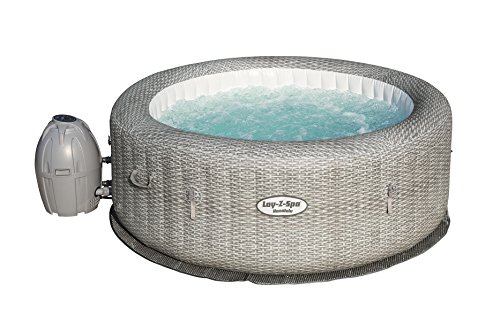 Bestway - Spa gonflable rond motif rotin gris 6 personnes,...