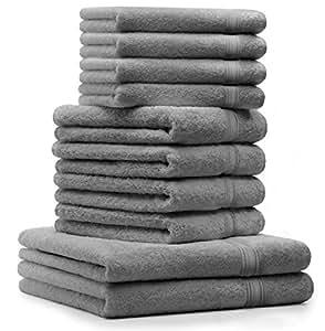 10 tlg. Luxus Handtuch Set GOLD Farbe: Silber Grau Qualität 600 g/m² 2 Duschtücher 4 Handtücher 4 Seiftücher