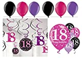 Feste Feiern Geburtstagsdeko Zum 18. Geburtstag I 24 Teile All-In-One Set Spiralen Deckenhänger Luftballon Pink Schwarz Violett Party Deko Happy Birthday