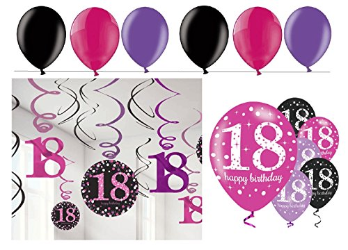 tagsdeko 18. Geburtstag I 24 Teile Deko-Set Spirale Swirl Girlande Luftballon Pink Schwarz LILA Party Set Happy Birthday 18 ()