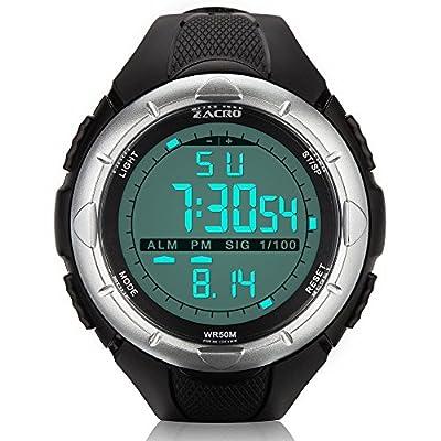 Zacro Sport Watch, Men Sports Waterproof Wristwatches - Multifunctional 5ATM Digital LED Screen Blacklight - Big Case & Fashion Design - low-cost UK light shop.