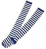 Overknees, für Erwachsene, Ringelstrümpfe blau/weiß, 2 Varianten, Karneval, Mottoparty, Kostümzubehör, Kniestrümpfe, halterlose Strümpfe (One Size)