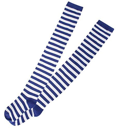 Preisvergleich Produktbild Overknees,  für Erwachsene,  Ringelstrümpfe blau / weiß,  2 Varianten,  Karneval,  Mottoparty,  Kostümzubehör,  Kniestrümpfe,  halterlose Strümpfe (One Size)