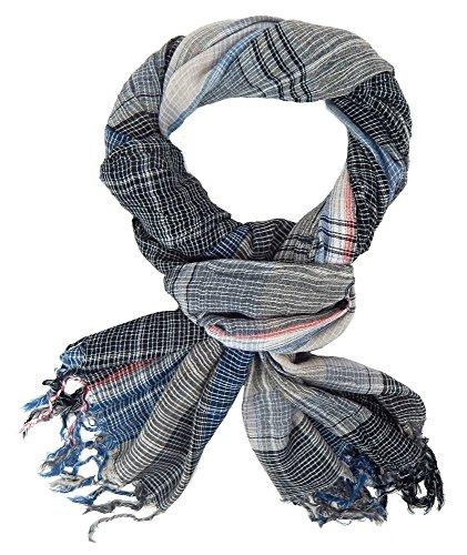 Herrenschal von Ella Jonte im Casual Style und trendigem Colour-Mix schwarz blau grau rot Schal