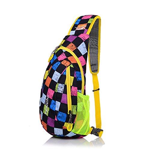 Umhängetasche Brust Schulter Multi-funktionale Sporttasche Dreieck Tasche Stickerei Wasserdichte Nylon für Frauen oder Männer zum Laufen Wandern Camping Reisen (farbige Quadrate) -