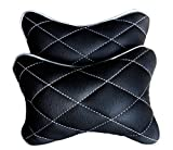 #5: Hi Art CS_6 Black And Silver Double Quilted Car Neck Rests Cushions - Set of 2 pieces