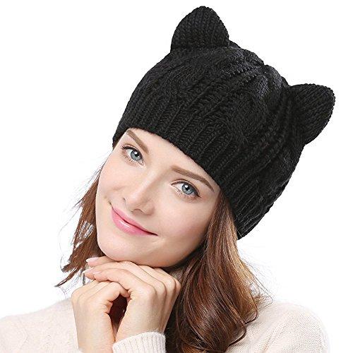 Imixcity Chapeau Chat Oreille Femme Crochet Tressés Tricotés Casquettes 5 Couleur (Noir)