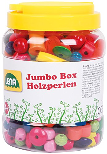Lena 32044 - Bastelset Jumbo Box Holzfädelperlen, Fädelperlen aus Holz in praktischer Dose, Holzperlen Set für Kinder ab 4 Jahre, Perlen in verschiedenen Farben und Formen zum Schmuck basteln