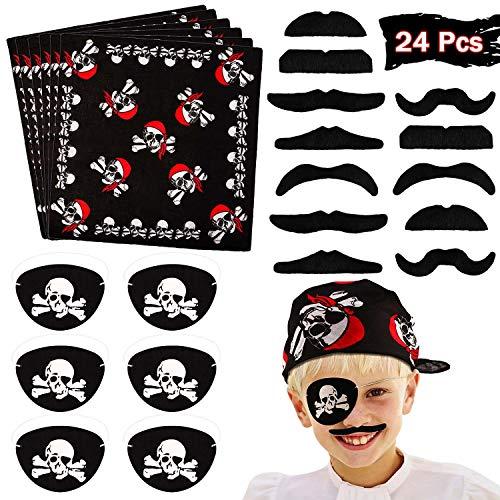 VAMEI Piraten Kindergeburtstag 24 Stck Piratenkapitän Kostüm Set Piraten Augenklappe Pirate Bandana Gefälschte Schnurrbart Für Kinder Party Zubehör
