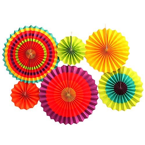 NUOLUX Papier-Fan-Hochzeits-Party-hängende Dekor-Bevorzugungs-Versorgungsmaterialien, 6 PC (Dekor Papier-fan)