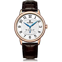 STARKING Men's BM0980RL91 Retro Small Seconds-Hand Subdial Quartz Watch with Brown Leather Strap