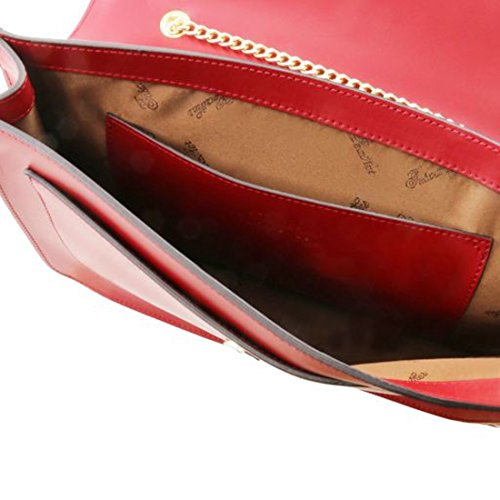 Tuscany Leather Iride - Pochette in pelle ruga con tracolla a catena - TL141567 (Blu scuro) Rosso