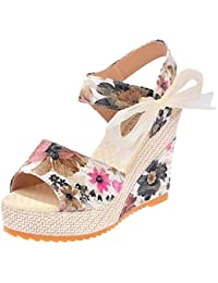 Minetom Mujer Verano Dulce Encaje Arco Floral Sandalias Con Cuña Peep Toe Cabeza Pescado Zapatos De Tacón Alto Chancletas Zapatillas