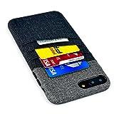 Dockem iPhone 8 Plus und 7 Plus Karte und Bargeld Hülle Brieftaschen - Leinwand-Stil Kunstleder Handyhülle mit Kartenhalter (3 Karte und Bargeld) [Schwarz und Grau]