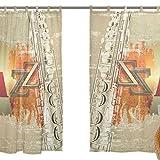 jstel Lot de 2voile rideau fenêtre, Vintage Jazz Instruments de musique, en tulle Transparent Rideau Drapé Lit 139,7x 198,1cm deux panneaux de
