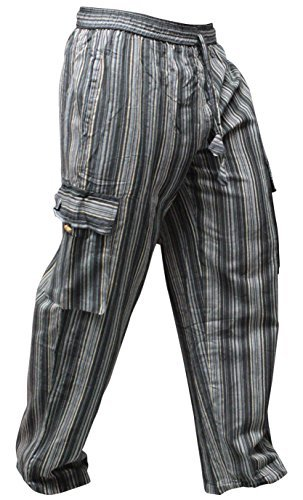 Shopoholic Fashion - Pantaloni unisex in stile hippy multicolore a righe, gamba larga Black mix M