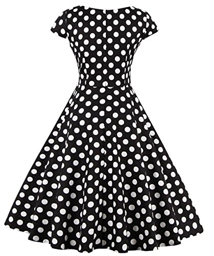 1950s Robes de Femme,VERNASSA 50s Rétro Style Hepburn Style Coton Cocktail Club Prom Vintage Evening Swing Dress,Multicolor,Taille S-4XL 1328-Black White Dots