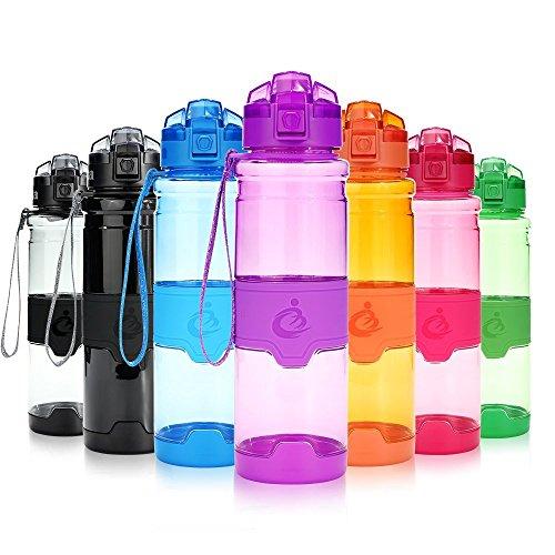 Kinder-kunststoff-wasser-flasche (Grsta Sport Trinkflasche, 400ml/14oz - BPA frei Tritan Kunststoff Wasserflasche, Auslaufsicher Sporttrinkflaschen für Laufen, Yoga, Fahrrad, Kinder Schule, Wasser Flaschen mit Sieb, Ein Klick Geöffnet(G-Lila))