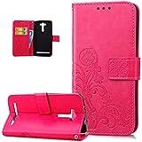 Funda carcasa ikasus® para Asus Zenfone 2Laser 5.5, Asus Zenfone 2Laser 5.5,de cuero, protectora, con repujado con diseño floral. Modelo super fino, con porta tarjetas de crédito