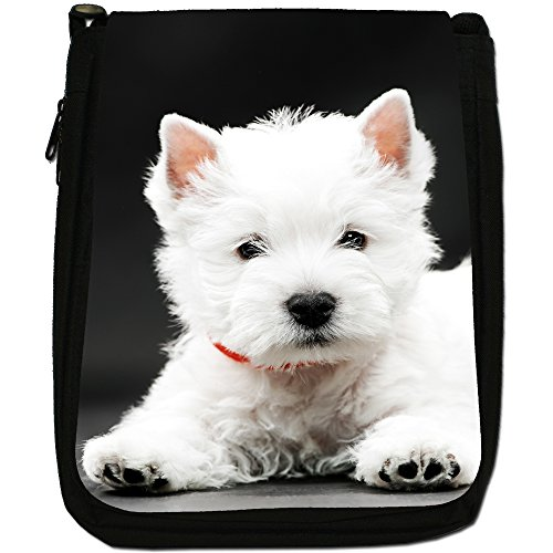 West Highland White Terrier, in tela, colore: nero, taglia: M Nero (West Highland White Terrier)