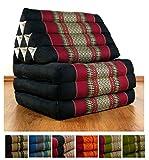 Thaikissen aus Kapok, 3 Auflagen, Yoga Dreieckskissen aus Asien, Feng Shui Triangelkissen für Meditation und Entspannung (schwarz/rot)