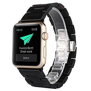 AIYIBEN Herren Holz Uhrenarmband kompatibel mit Apple Watch Alle Modelle