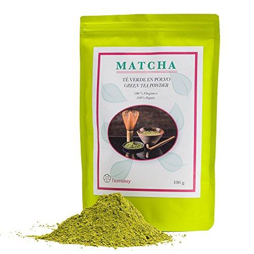 Té verde Matcha Tesmakey 100g. Orgánico 100%. Potente antioxidante, contribuye a adelgazar y a la memoria. Uso ceremonial y culinario. Agradable sabor. Sin aditivos.