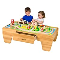 B-Creative 80 Piece Modern Wooden Train Set Table Kids Children Activity Fun Cargo Play 3+