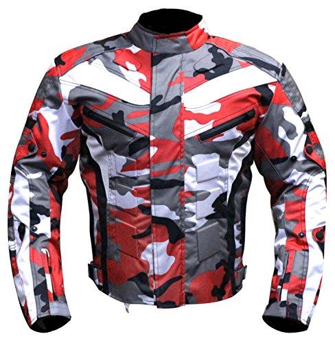 Wasserdicht Motorrad Motorrad Moped Herren Jacke mit CE zugelassenen Rüstung & dicke abnehmbare Futter - für alle Wetter - 6 Packs Design Am beliebtesten (Camouflage Red / Tarnung, 3X-Large) (6-pocket Camouflage)
