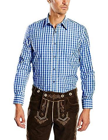 Fuchs Trachtenmoden Herren Trachten Hemd, Gr. Kragenweite: 39 cm (Herstellergröße: M), Mehrfarbig (Blue/White (Tracht Oktoberfest)