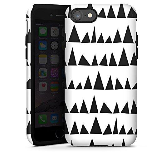 Apple iPhone X Silikon Hülle Case Schutzhülle Schwarz Weiß Muster Dreieck Tough Case glänzend